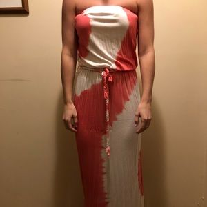 Pink and white strapless Maxi dress